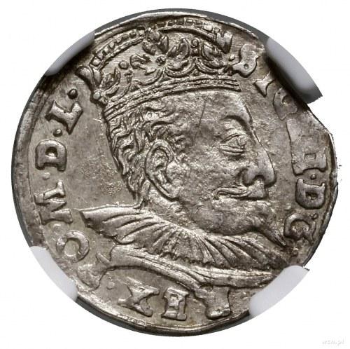 Trojak, 1598, mennica Wilno; popiersie króla z wachlarz...