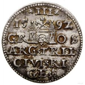 Trojak, 1592, mennica Ryga; końcówka napisu LI na awers...