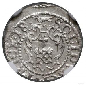 Szeląg, 1618, mennica Ryga; na awersie PO•MDL, na rewer...