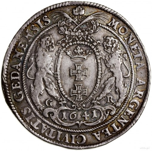 Talar, 1641, mennica Gdańsk; Aw: Popiersie króla z koro...