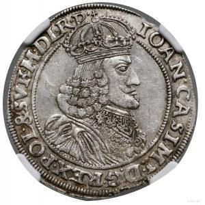 Ort, 1651, mennica Poznań; na awersie popiersie króla w...