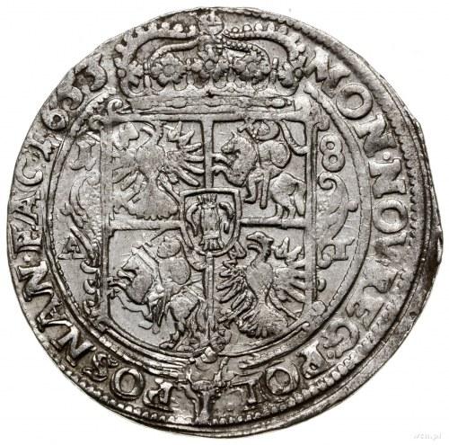 Ort, 1653, mennica Poznań; wariant z prostą tarczą herb...