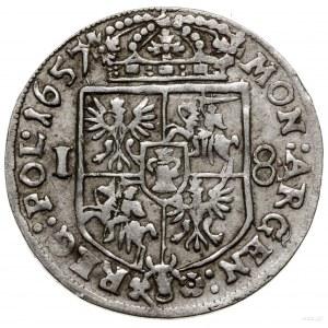 Ort, 1657, mennica Kraków; pod popiersiem władcy litery...