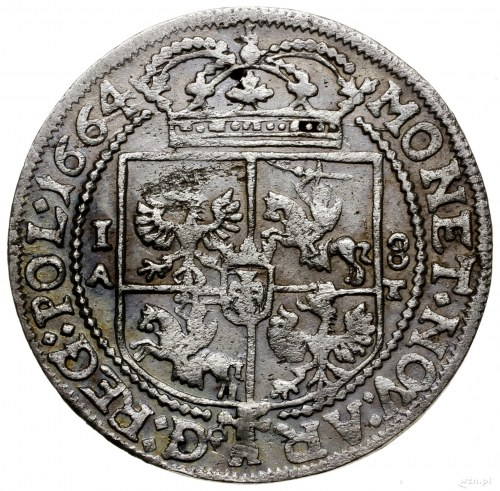 Ort, 1664, mennica Kraków; na awersie IO CASIM..., herb...