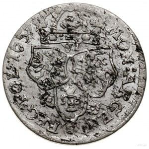 Szóstak, 1657, mennica Kraków; legenda awersu IO CASIM ...