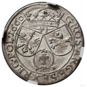 Szóstak, 1660, mennica Kraków; obwódki na awersie irew...