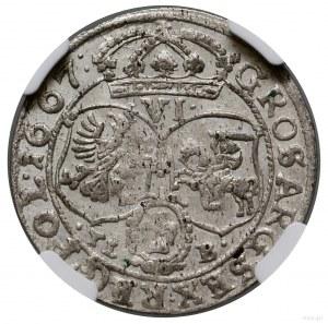 Szóstak, 1667, mennica Kraków; herb Ślepowron na awersi...