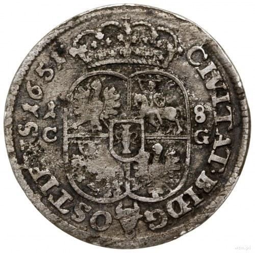 Ort, 1651, mennica Bydgoszcz; Aw: Popiersie króla w pra...