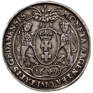 Talar, 1649, mennica Gdańsk; Aw: Popiersie z dużą głową...