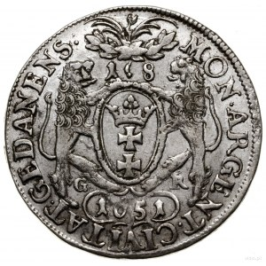 Ort, 1651, mennica Gdańsk; obwódka na awersie, na rewer...