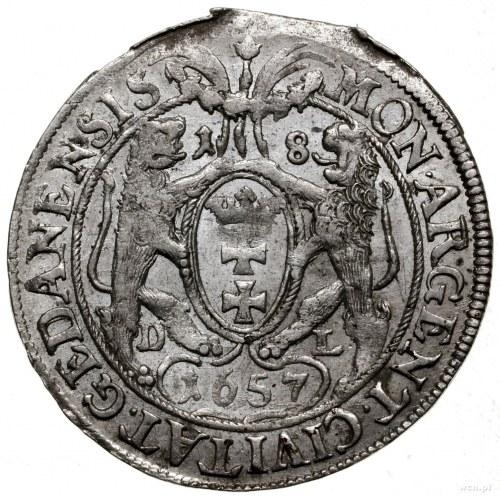 Ort, 1657, mennica Gdańsk; odmiana z mniejszą głową kró...