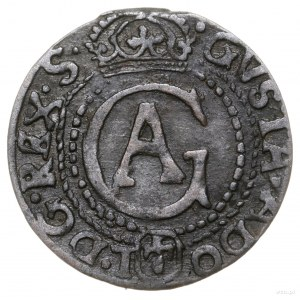 Szeląg, 1627, mennica Elbląg; Aw: Monogram Gustawa Adol...