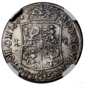Ort, 1684 TLB, mennica Bydgoszcz; inicjały TLB pod popi...