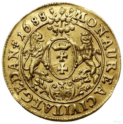 Dukat, 1688, mennica Gdańsk; Aw: Popiersie króla w koro...