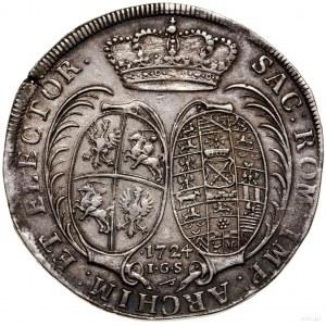 Talar, 1724, mennica Drezno; Aw: Popiersie króla w praw...