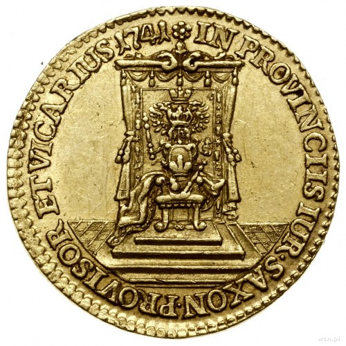 Dukat wikariacki, 1742, mennica Drezno; Aw: Król na kon...