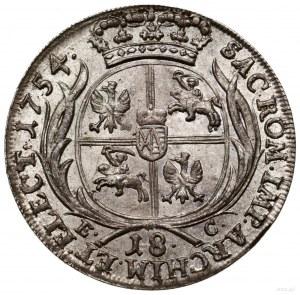 Ort, 1754, mennica Lipsk; pola korony gładkie na awersi...