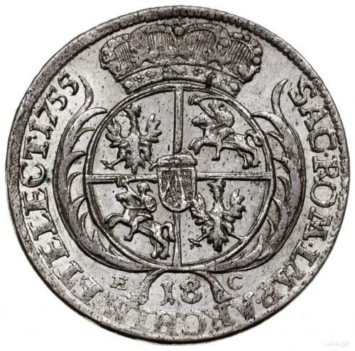 Ort, 1755 EC, mennica Lipsk; masywne popiersie króla w ...