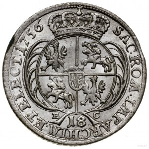 Ort, 1756, mennica Lipsk; popiersie władcy z małą głową...