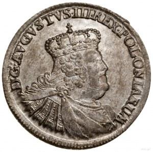 Ort, 1756 EC, mennica Lipsk; mała głowa króla z prostą ...