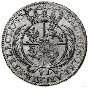 Szóstak, 1753 EC, mennica Lipsk; wąskie popiersie z owa...