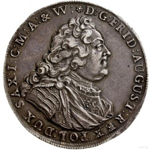 Talar, 1745, mennica Drezno; Aw: Popiersie władcy w pra...