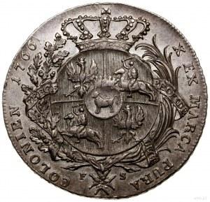 Talar, 1766, mennica Warszawa; Aw: Popiersie króla w zb...