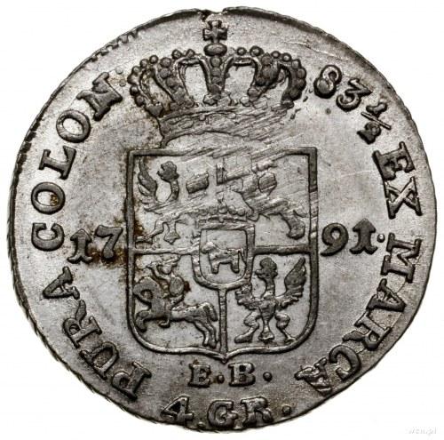 Złotówka (4 grosze), 1791 EB, mennica Warszawa; litery ...
