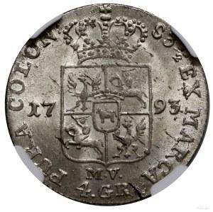Złotówka (4 grosze), 1793, mennica Warszawa; litery MV ...