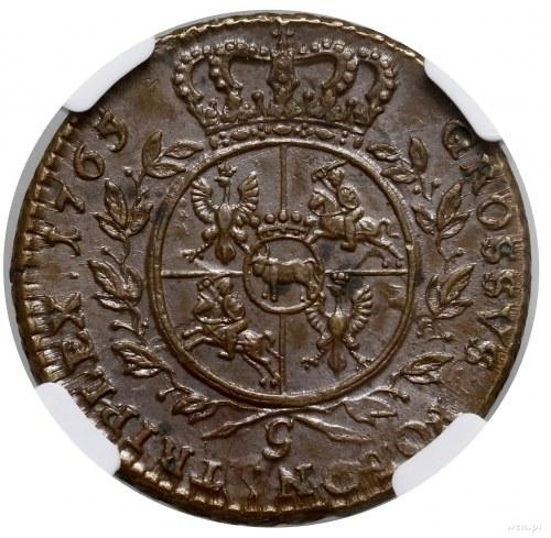 Trojak, 1765, mennica Kraków; Aw: Popiersie króla w zbr...