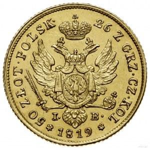 50 złotych, 1819 IB, Warszawa; Aw: Głowa cara w prawo i...