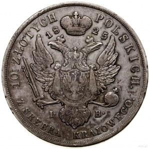 10 złotych, 1825, Warszawa; Aw: Głowa cara zwrócona w p...