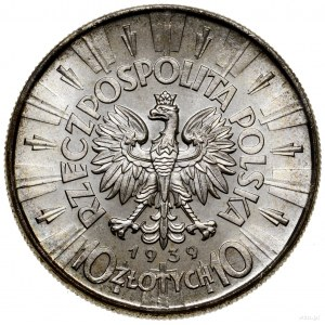 10 złotych, 1939, Warszawa; Józef Piłsudski; Kop. 3008,...