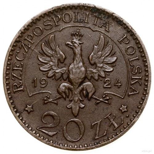 20 złotych, 1924, Warszawa; Aw: Orzeł; Rw: Monogram II ...