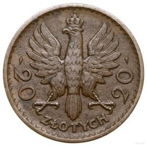 20 złotych, 1925, Warszawa; Głowa kobiety w czepcu, bez...
