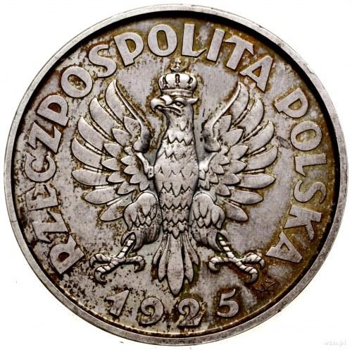 """5 złotych, 1925, Warszawa; """"Konstytucja"""" odmiana stuper..."""
