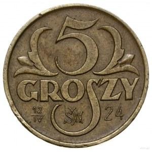 5 groszy, 1923, Warszawa; na rewersie data 12 IV 24 im...