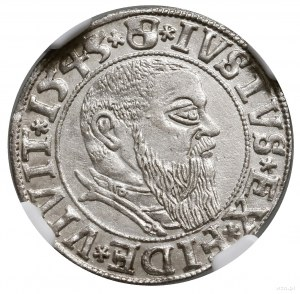 Grosz, 1543, Królewiec; końcówka legendy PRVSS na rewer...