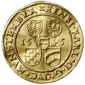 Dukat, 1565, Złoty Stok; Aw: Pięć tarcz herbowych, po b...