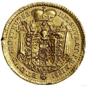 Dukat, 1752, Wiedeń lub Nysa; Aw: Popiersie biskupa zwr...