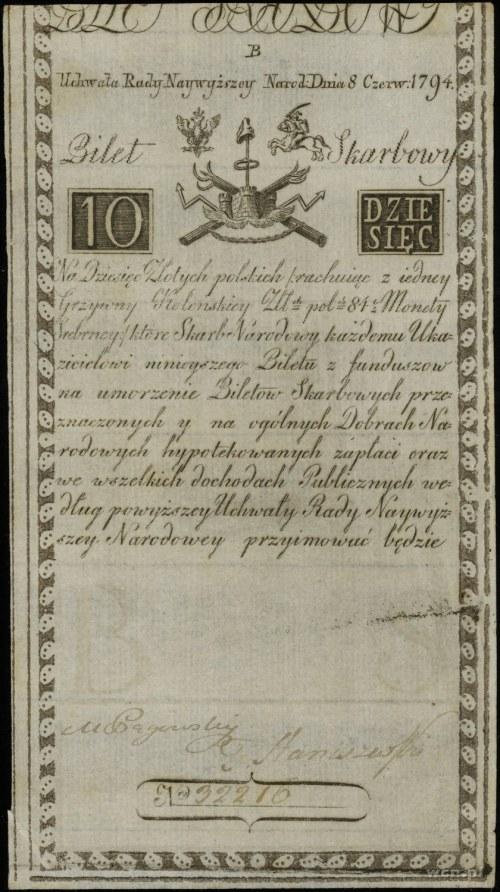 10 złotych, 8.06.1794; seria D, numeracja 32216, podpis...