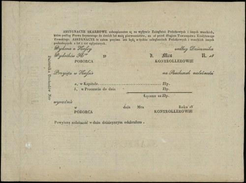 Asygnata skarbowa na 500 złotych, 1831; numeracja 4881,...