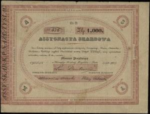 Asygnata skarbowa na 1.000 złotych, 1831, z podpisem mi...