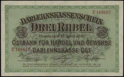 3 ruble, 17.04.1916, Poznań; seria U, numeracja 169657,...