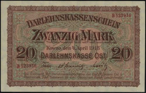20 marek, 4.04.1918, Kowno; seria B, numeracja 523936; ...