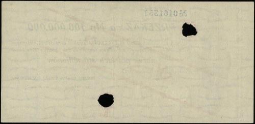 Przekaz na 100.000.000 marek polskich, 20.11.1923; nume...