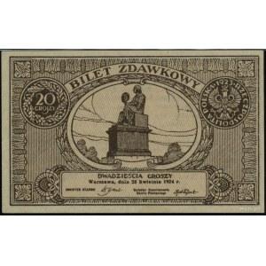 20 groszy, 28.04.1924; bez oznaczenia serii inumeracji...