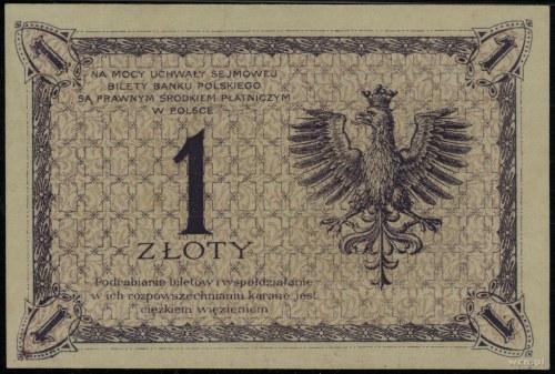 1 złoty, 28.02.1919; seria dwucyfrowa 40.A, numeracja 0...