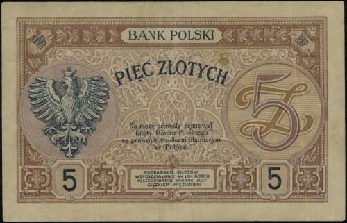 5 złotych, 28.02.1919; seria jednocyfrowa 6.A., numerac...