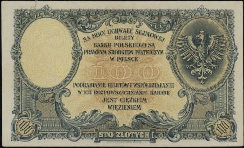 100 złotych, 28.02.1919; seria A, numeracja 6244340; Lu...